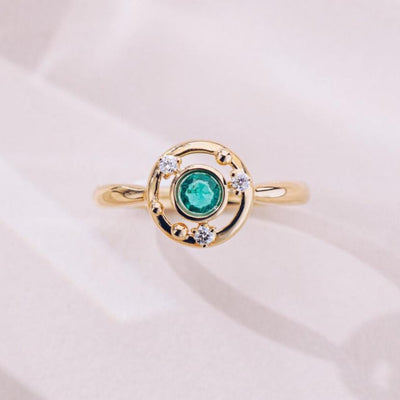 Universe | Natural Emerald & Diamond 18kt Yellow Gold Ring