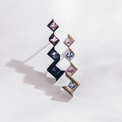 Utopia | Natural Coloured Sapphire 18kt Gold & Black Rhodium Mismatch Earrings