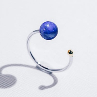 Galaxias | Natural Lapis Lazuli 925 Silver 18K Gold Plated Stacking Open Ring
