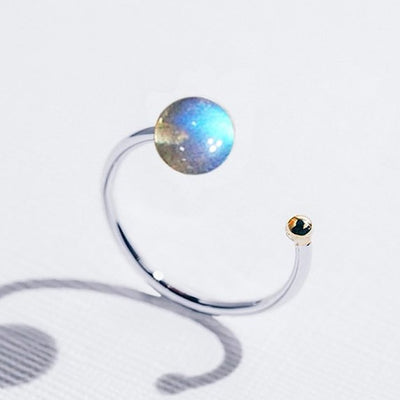 Galaxias | Natural Labradorite 925 Silver 18K Gold Plated Stacking Open Ring