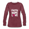 Faith Hope Love - heather burgundy