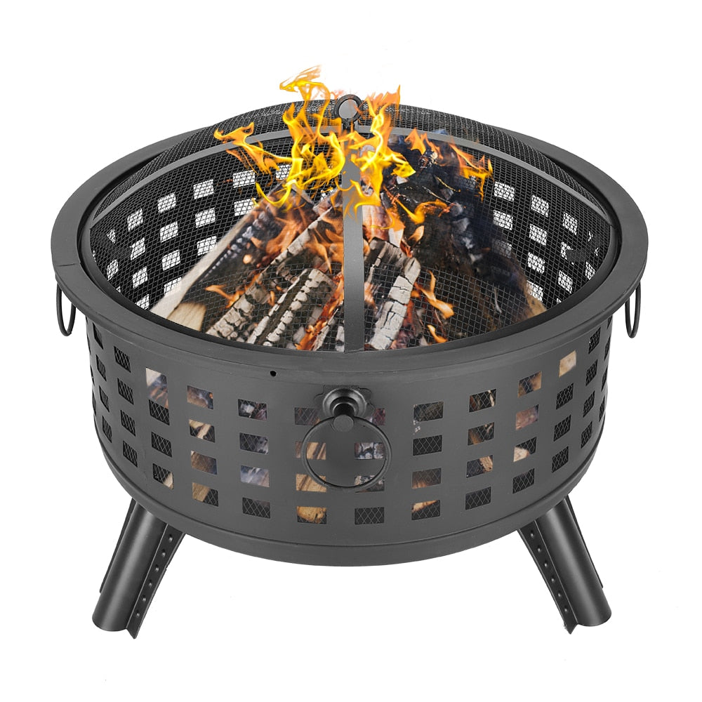 "Portable Courtyard Metal Fire Pit 26"" Round Lattice Fire Bowl Black for Backyard Poolside"