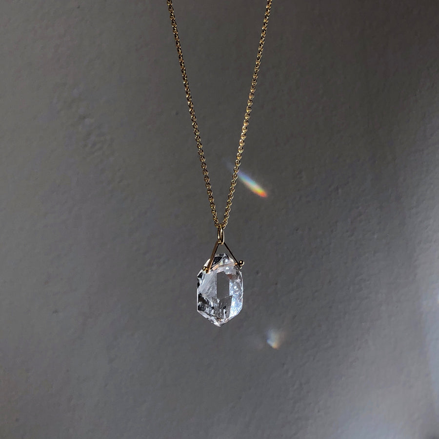 HERKIMER DIAMOND PENDANT WITH 14K SIGNATURE BAIL