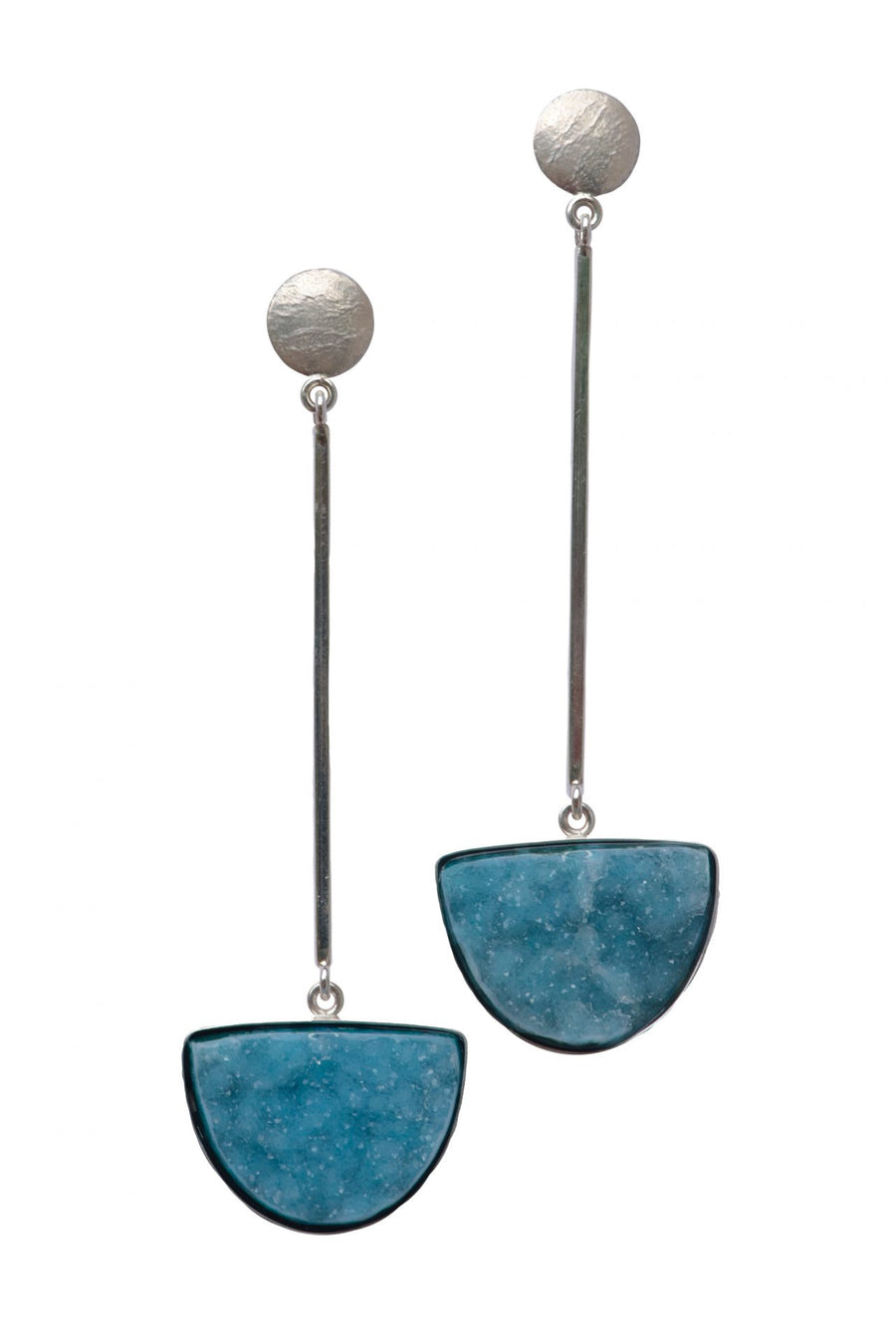 STERLING MOD BAR EARRINGS WITH CHRYSOCOLLA DRUSY