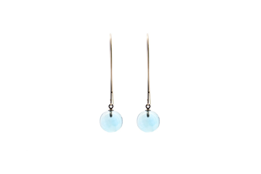 BLUE TOPAZ GLOBE EARRINGS