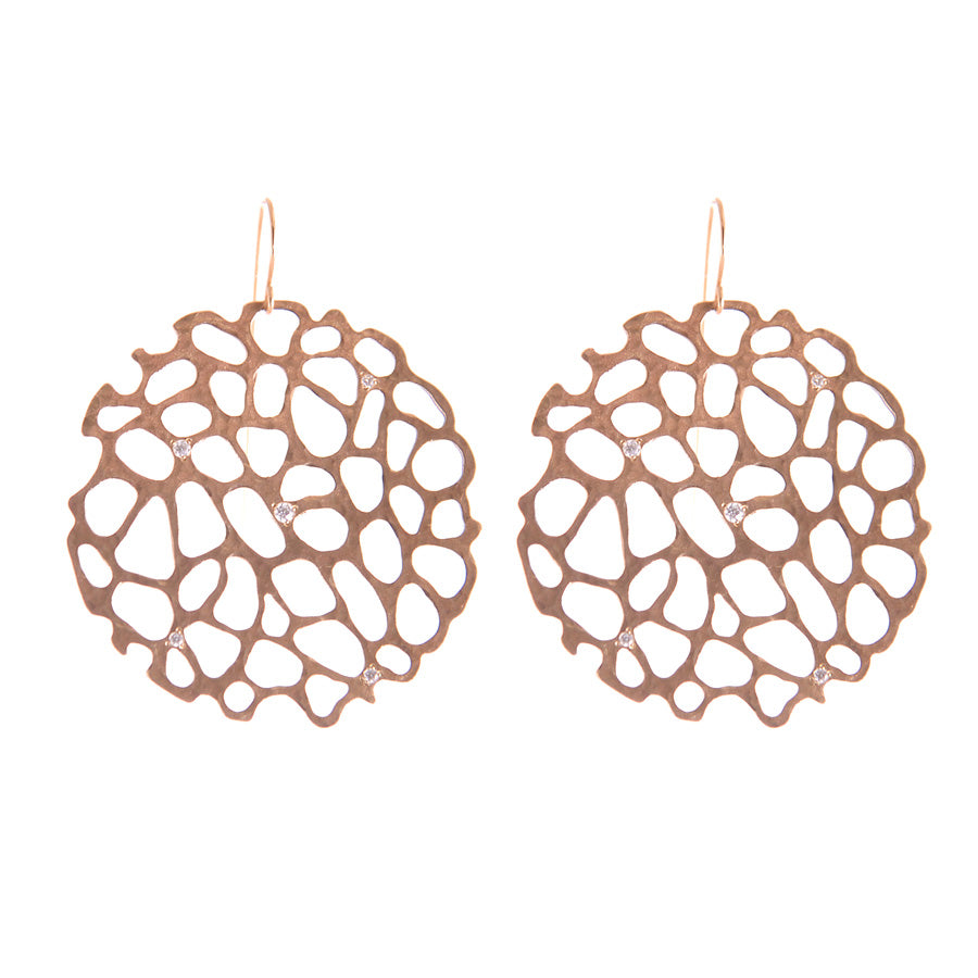 14K YELLOW GOLD SEA FAN EARRINGS WITH DIAMONDS