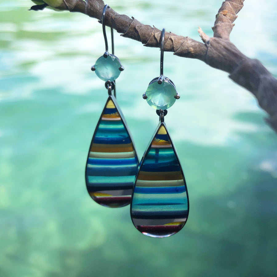 SURFITE EARRINGS WITH PERUVIAN OPALS