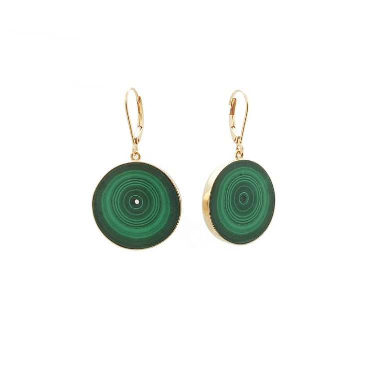 MALACHITE EARRINGS WITH 14K YELLOW GOLD