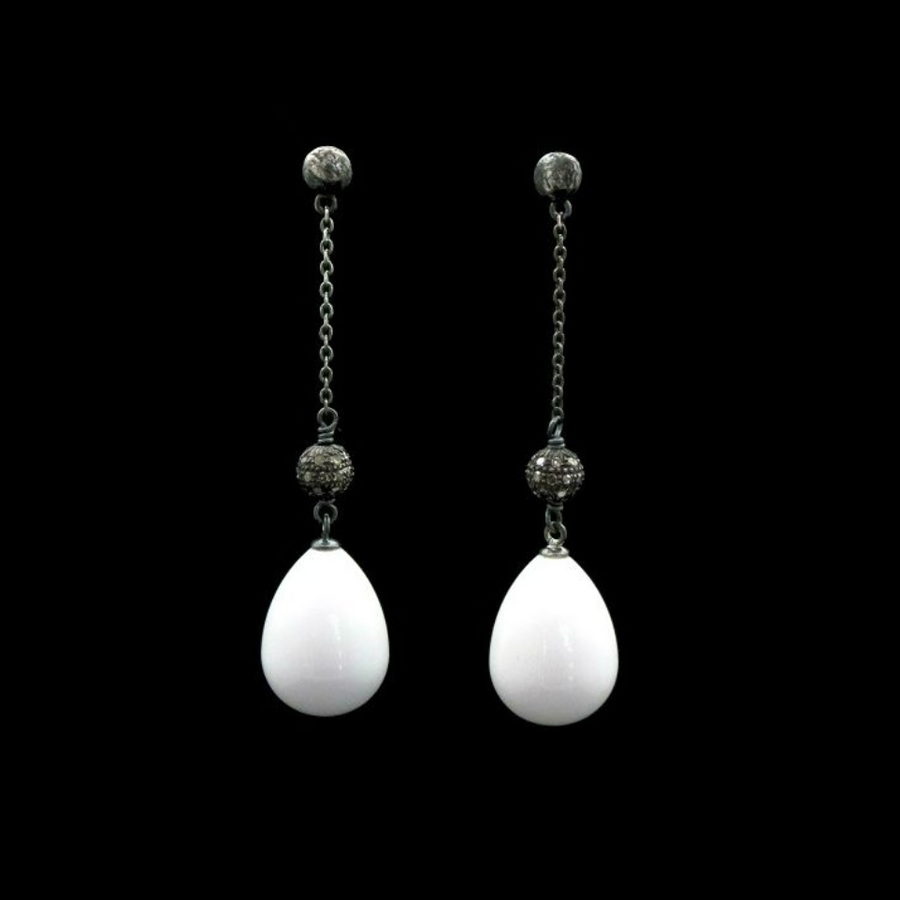 WHITE AGATE DROP EARRINGS WITH PAVE DIAMOND SPHERES