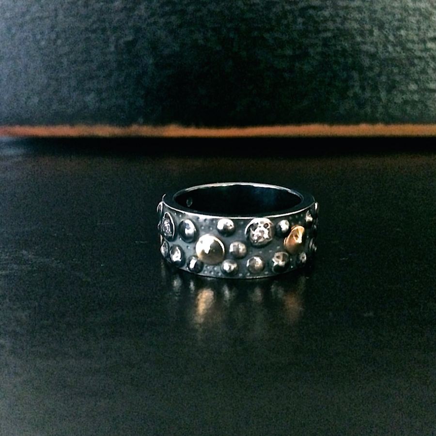 OXIDISED STERLING WIDE BAND SEA URCHIN RING