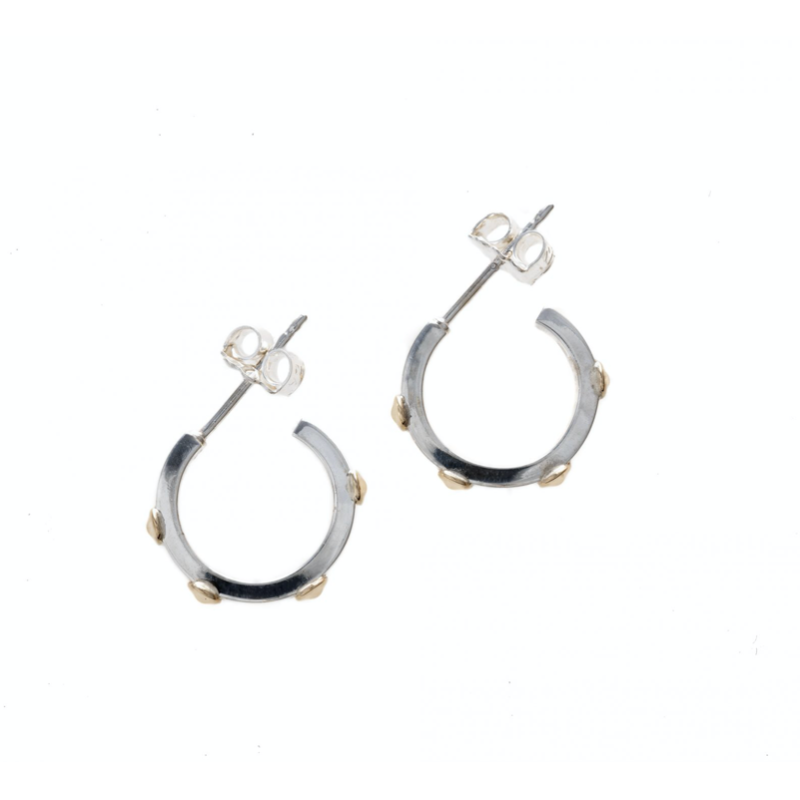 STERLING SILVER SEA URCHIN HUGGER HOOPS WITH 14K BUMPS