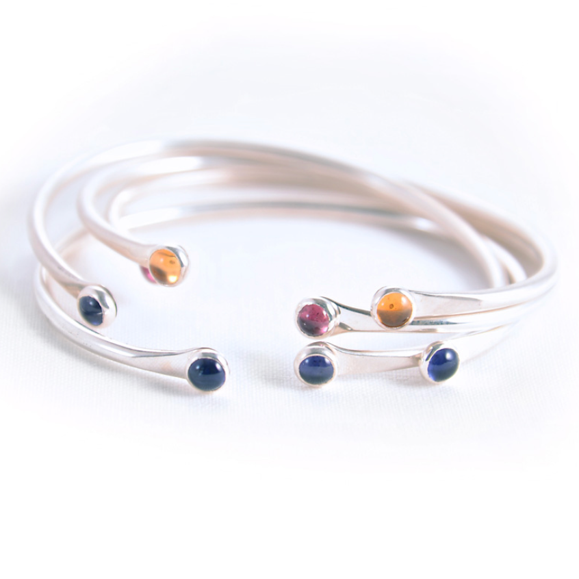 STERLING SILVER CUFF WITH GEMSTONES