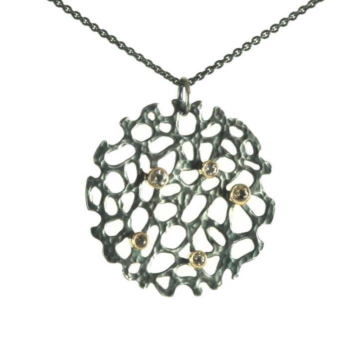 OXIDISED STERLING SEA FAN PENDANT WITH WHITE TOPAZ