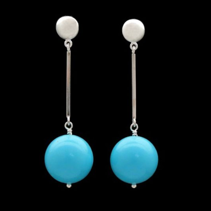 MOD-BAR EARRINGS WITH TURQUOISE GUMBALLS