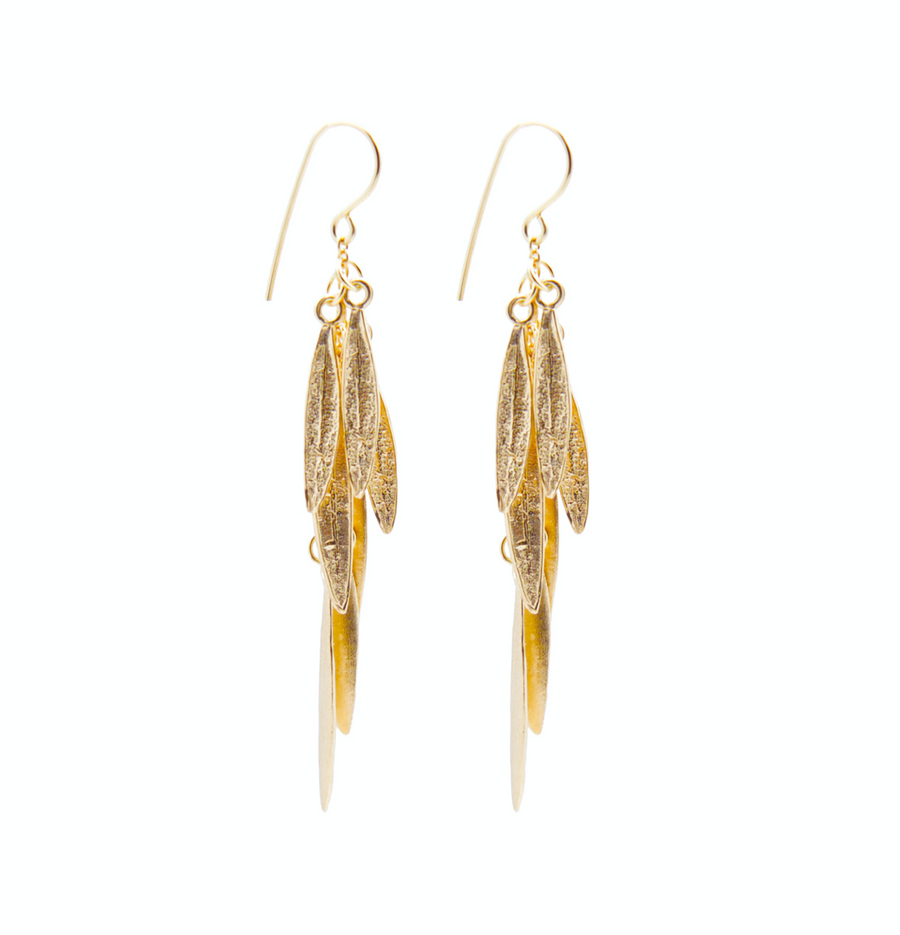 DANGLING EARRINGS OF MINIATURE OLEANDER LEAVES