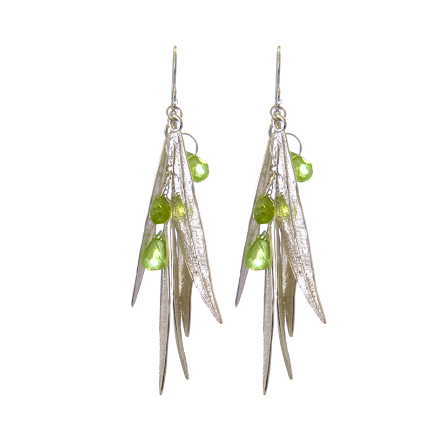 DANGLING EARRINGS OF OLEANDER LEAVES & PERIDOT BRIOLETTES