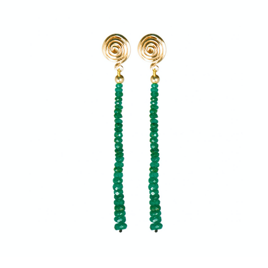 14K YELLOW GOLD SPIRAL EARRINGS WITH EMERALDS