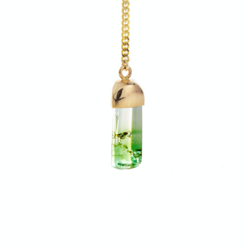 14K YELLOW GOLD LARIAT WITH BI-COLOUR TOURMALINE