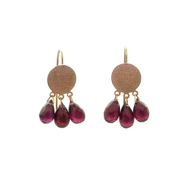 DISC EARRINGS WITH GEMSTONE DROPS