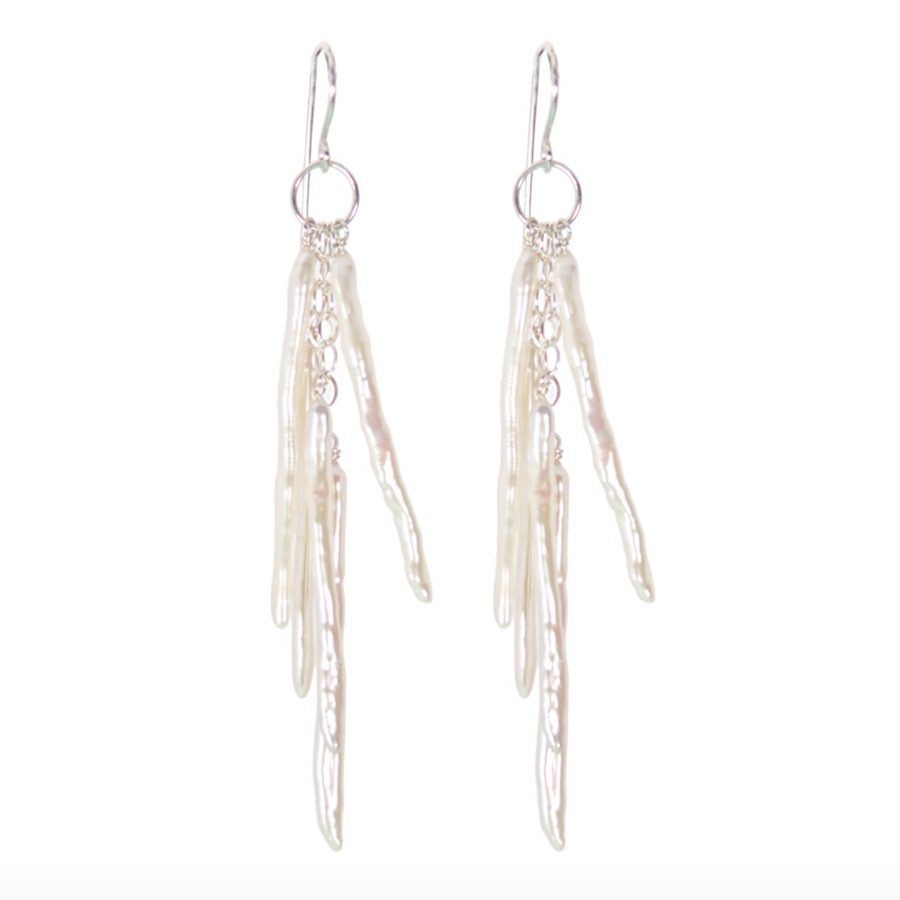 DANGLING STICK PEARL EARRINGS