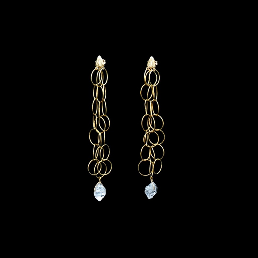 18K YELLOW GOLD LOOP EARRINGS WITH HERKIMER DIAMONDS