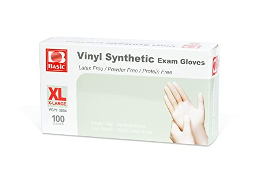Vinyl Synthetic Exam Disposable Gloves, XLarge, 100 Gloves/Box - Osung USA