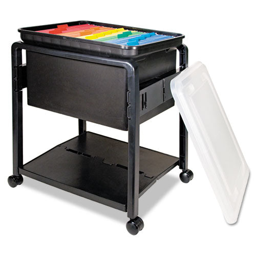 Folding Mobile File Cart, 14.5w X 18.5d X 21.75h, Clear-black