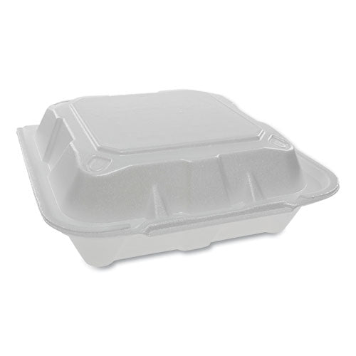 Foam Hinged Lid Containers, Dual Tab Lock, 8.42 X 8.15 X 3, 1-compartment, White, 150-carton