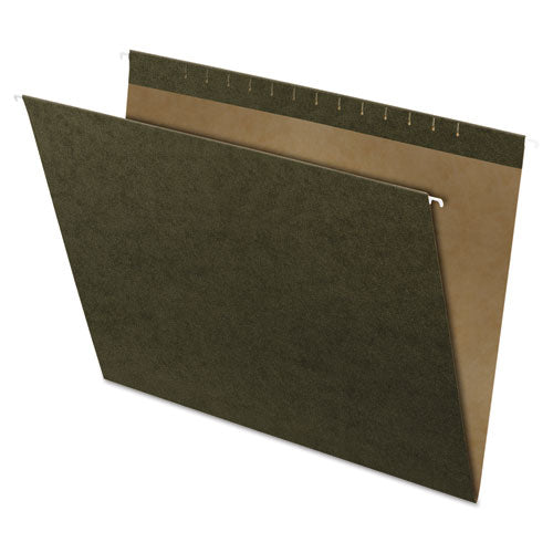 Reinforced Hanging File Folders, Large Format Size, Straight Tab, Standard Green, 25-box