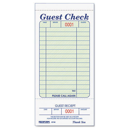 Guest Check Book, 3 3-8 X 6 1-2, Tear-off At Bottom, 50-book