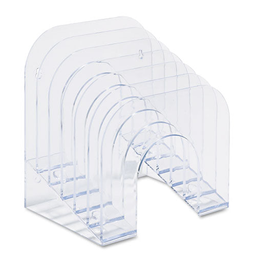 "Optimizers Multifunctional Six-tier Jumbo Incline Sorter, 6 Sections, Letter Size Files, 9.38"" X 10.5"" X 7.38"", Clear"