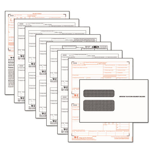 W-2 Tax Form-envelope Kits, 8 1-2 X 5 1-2, 6-part, Inkjet-laser, 24 W-2s And 1 W-3