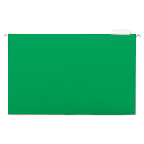 Deluxe Bright Color Hanging File Folders, Legal Size, 1-5-cut Tab, Bright Green, 25-box