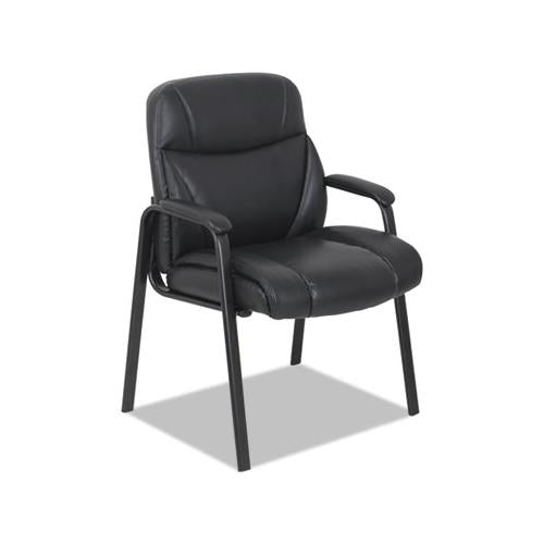 "Leather Guest Chair, 25.63"" X 26"" X 37.63"", Black Seat-black Back, Black Base"