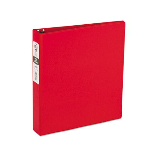 "Economy Non-view Binder With Round Rings, 3 Rings, 1.5"" Capacity, 11 X 8.5, Red, (3410)"