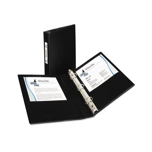 "Mini Size Durable Non-view Binder With Round Rings, 3 Rings, 1"" Capacity, 8.5 X 5.5, Black"