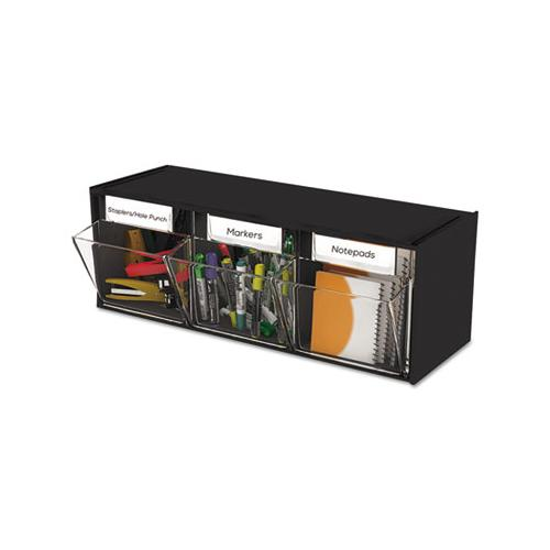 "Tilt Bin Interlocking Multi-bin Storage Organizer, 3 Sections, 23.63"" X 7.75"" X 9.5"", Black-clear"