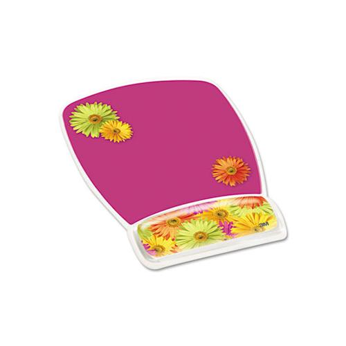 Fun Design Clear Gel Mouse Pad Wrist Rest, 6 4-5 X 8 3-5 X 3-4, Daisy Design