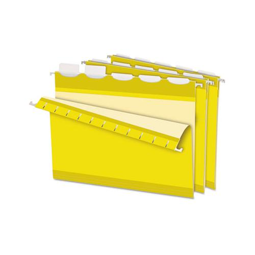 Ready-tab Colored Reinforced Hanging Folders, Letter Size, 1-5-cut Tab, Yellow, 25-box
