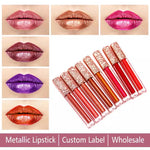 PRIVATE LABEL, 15ml Rose Gold  Wholesale Luxury PREMIUM quality pre-filled metallic liquid lipstick. 17 colours (Free Shipping)