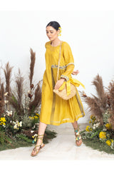 Sunshine Glow Handloom Chanderi Dress - Sunshine Glow - Neeta Bhargava