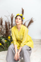 Sunshine Glow Chanderi Top and Handspun Dhoti Pants - Sunshine Glow - Neeta Bhargava