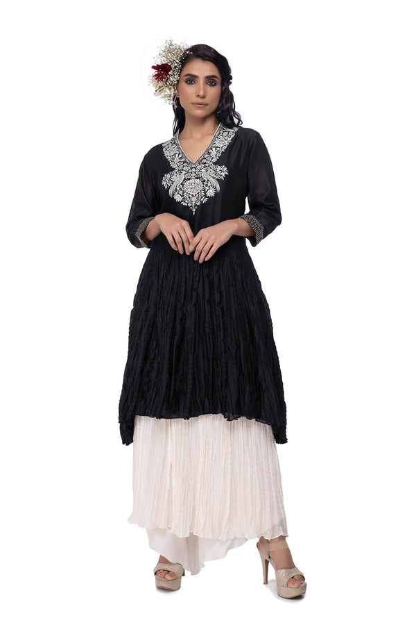 Travelling flowers Aman asymmetrical Kurta and Dorri crushed skirt with attached farsi pant - Travelling Flowers - Neeta Bhargava