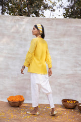 Utsav silk chanderi top and khadi pant