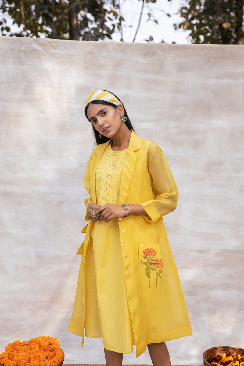 Utsav organza overlay and the khadi dress