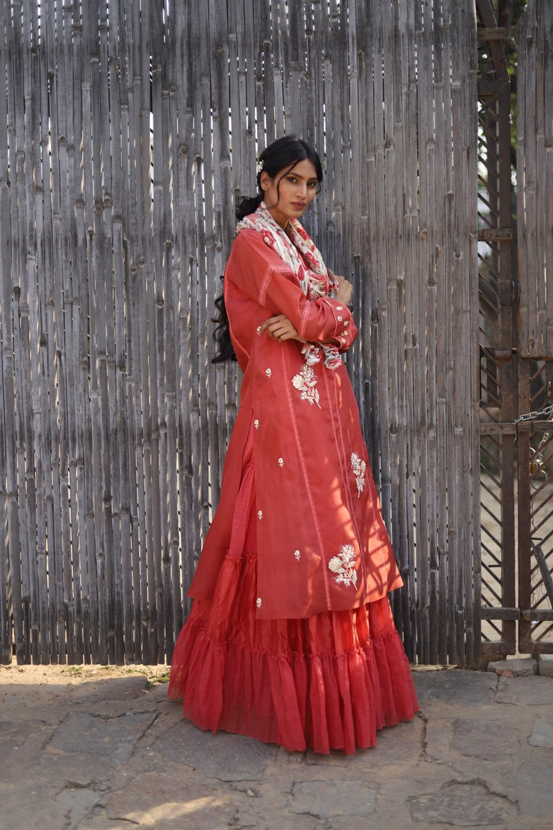 Vinatge Garden kurta and tiered skirt with hand embroidered and painted odhani set - Vintage Garden - Neeta Bhargava