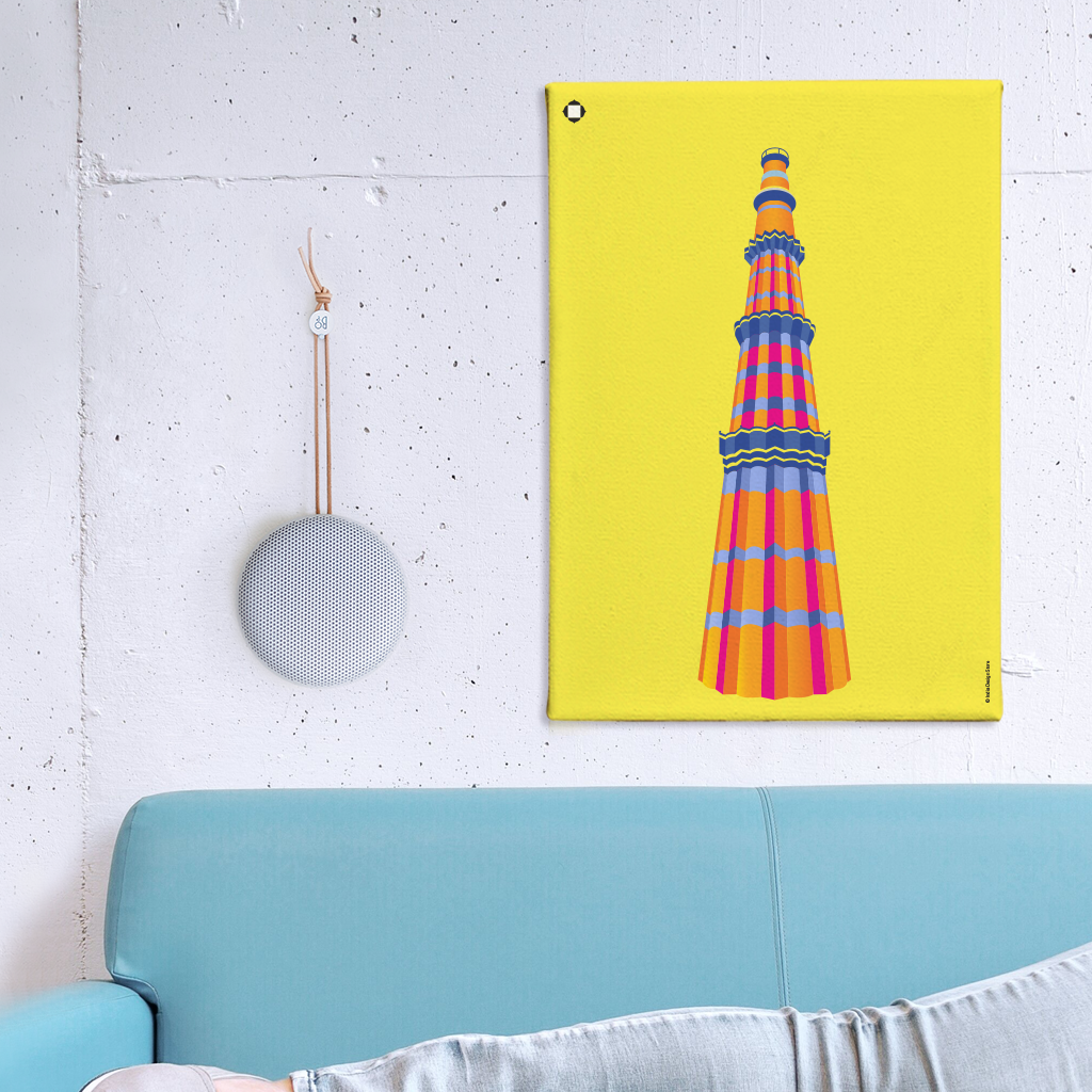 Qutub Minar Canvas Wall Art | India Design Store