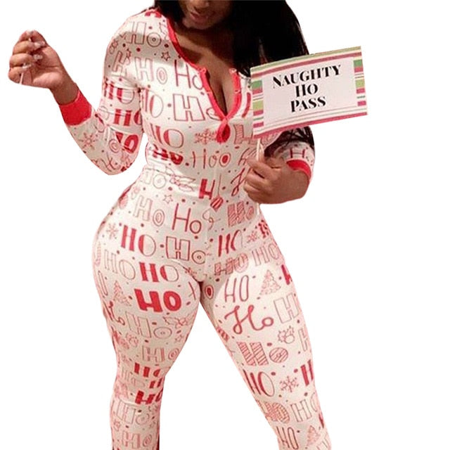 2020 Christmas Women Household Pajama Sets Romper Sleeping Jumpsuit Long Sleeve Cotton Xmas Sleep Wear Home Wear