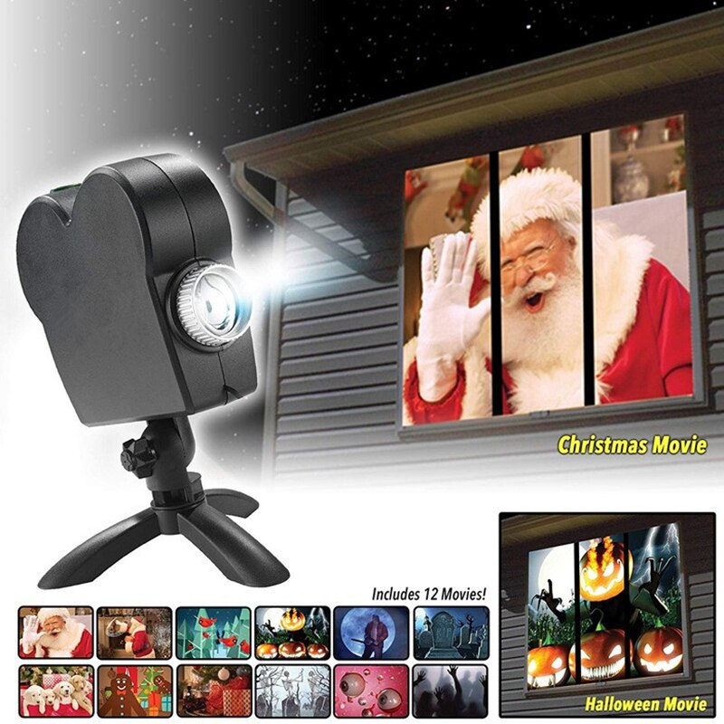 Window Wonder Laser Display - Halloween x Christmas - 12 movies!