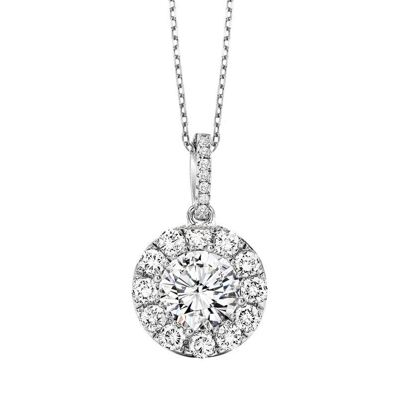 Diamond necklace, one of our selection of beautiful necklaces, including solitaire diamonds, diamond halo pendants like this one, gemstone drops, and heart designs.